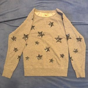 French connection grey sequined star sweater